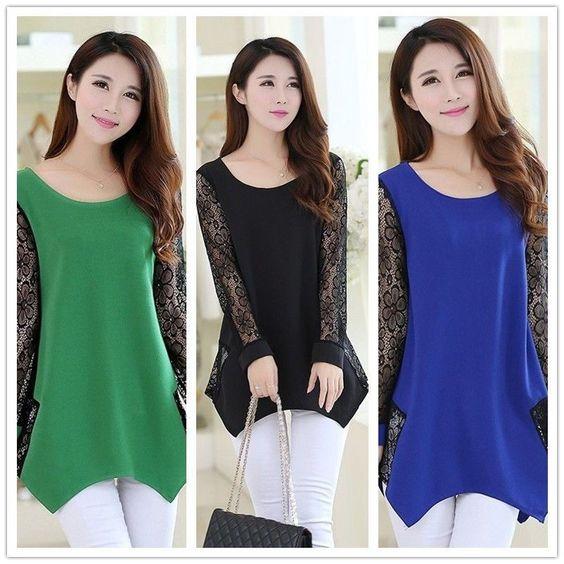 Fashion Women'S Floral Chiffon Tops Long Sleeve Lace Crochet Shirt Casual Blouse