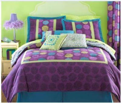 twin size modern comforter purple dot yellow bohemian spots lime green teal blue michaela. Black Bedroom Furniture Sets. Home Design Ideas