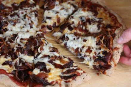 Bacon and cheese on homemade pizza is delicious!