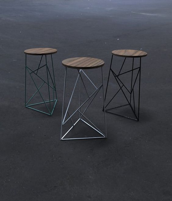 Modern Steel Stool with Walnut Seat