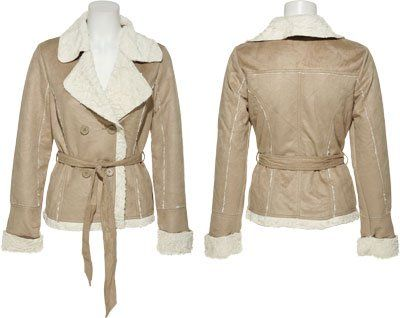 JOU JOU Faux Shearling Jacket W/ Belt [356-743], SAND