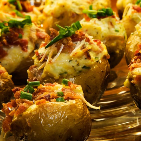 A baked potato recipe that turns a plain baked potato into a gourmet potato.. Cheese and Bacon Stuffed Double Baked Potatoes Recipe from Grandmothers Kitchen.