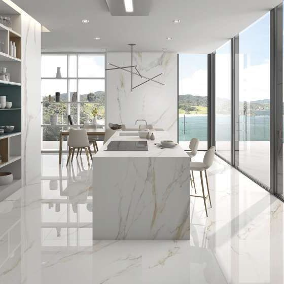Arklam Slabs 12mm Thick 59 X126 Large Format Spanish Slab Bv Tile And Stone Gold Kitchen Marble Marble Interior White Marble Kitchen