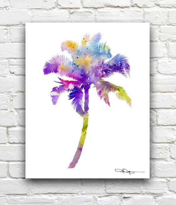 palm tree watercolor - photo #36