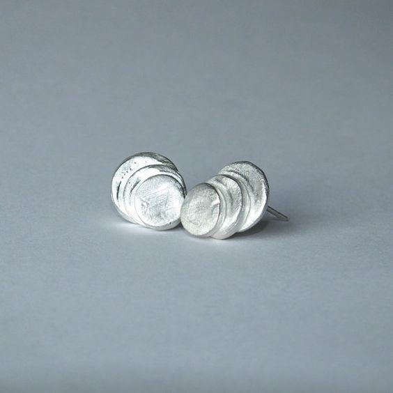 Fine Silver Minimalist Studs Stacked Silver by YVADesigns