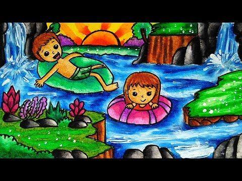 Cara Menggambar Dan Mewarnai Tema Pemandangan Air Terjun Yang Bagus Dan Mudah Youtube Cara Menggambar Lukisan Gambar