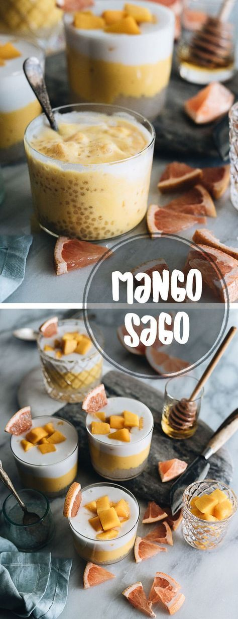 Learn to make restaurant-style mango sago with three beautiful layers that are creamy, fruity, and loaded with goodies. It's so easy to make and low in calories. #dessert #fruits #mango #asian #recipes #glutenfree #vegetarian