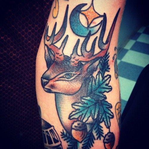 Stag, moon, star, acorn tattoo