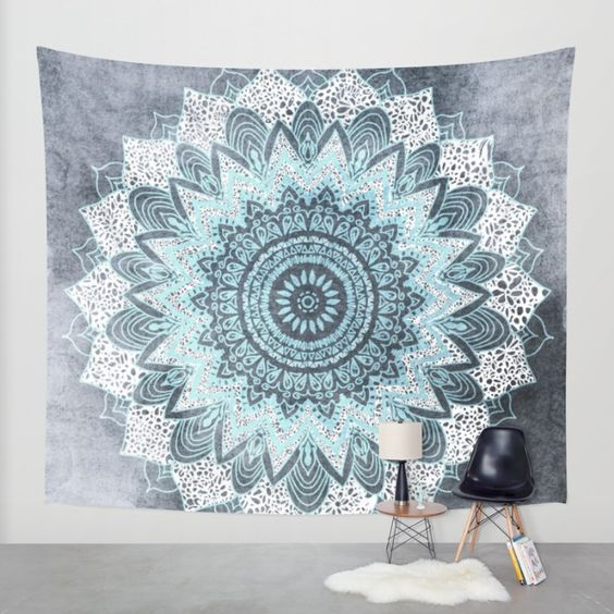 bohochic mandala in blue wall tapestry grey mandalas and 2d. Black Bedroom Furniture Sets. Home Design Ideas