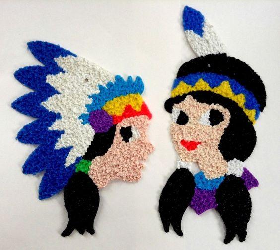 Vintage Melted Plastic Popcorn Native American Boy & Girl Thanksgiving