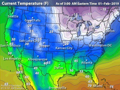 2019 0201 United States Current Temperatures | Temperature ...