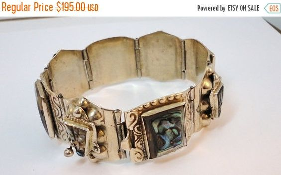 Sale 50s Silver 925 & Abalone ornate links by LoukiesWorld on Etsy