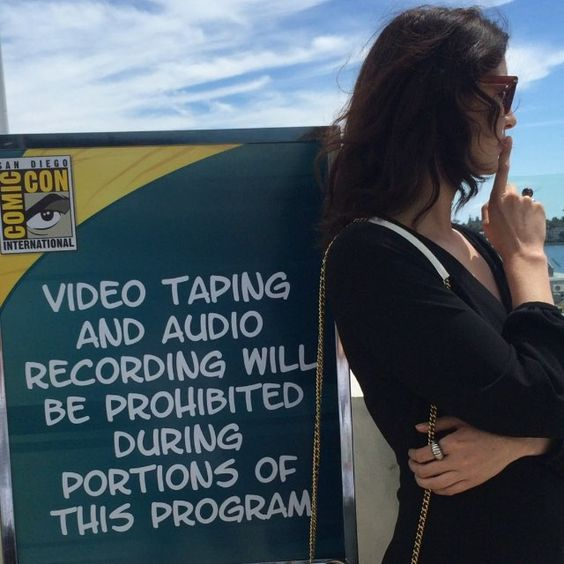 """Sticking to the rules"" -- Caitriona Balfe (Claire, from my favorite, ""Outlander"") shushing at Comic-Con 2015. Click through for the video."
