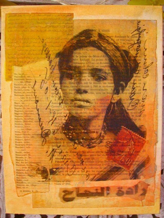 encrage du support(toile) collage de journaux transfert au vernis colle