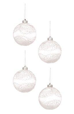 4 bolas de Navidad con motivo de encaje