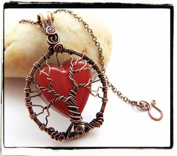 Tree of Life Red Heart Pendant with Chain