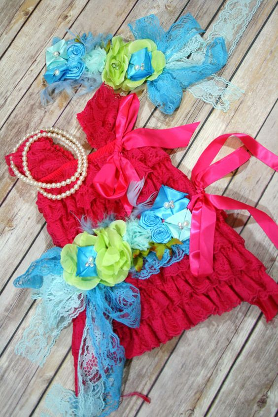 Petti Lace Romper Dress Fuschia Blue Green by CuddleBunnyCouture, $29.99 On SALE NOW!