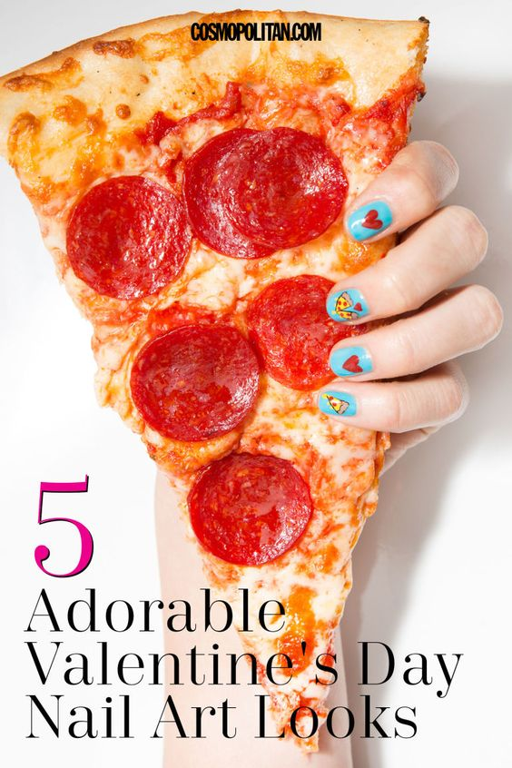 VALENTINE'S DAY NAIL ART: Valentine's Day nails can be cheesy, but these designs from Simcha Whitehill aka Miss Pop are anything but (well, minus the pizza nails, which are literally cheesy). Click through for 5 gorgeous nail art tutorials and manicure ideas that you can rock this Valentine's Day, or any day really. Find more stunning and easy beauty ideas and tutorials at Cosmopolitan.com.