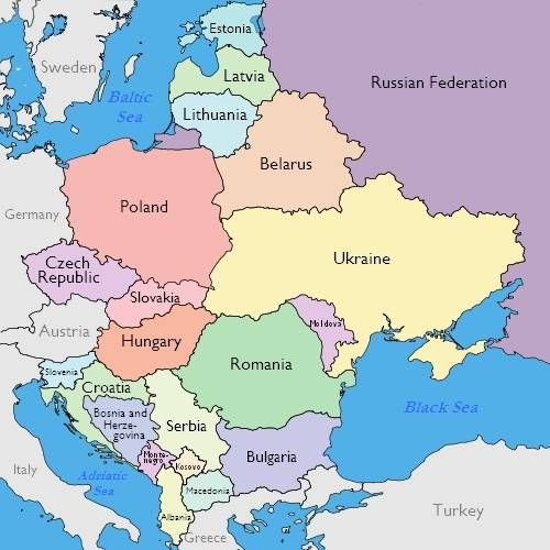 Maps of Eastern Europe – Map of West Europe with Cities