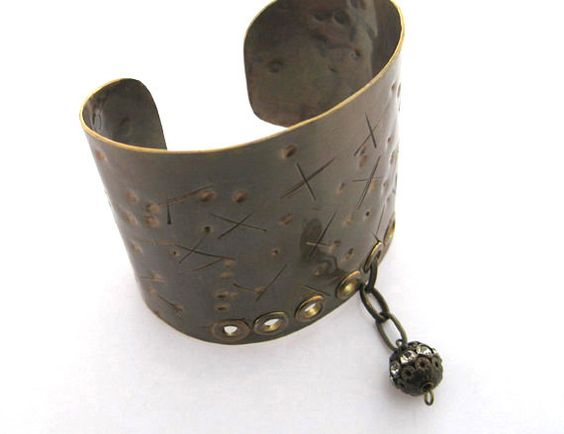 Metal stylish extra wide cuff  brass bracelet with by simplyfaina, $35.99