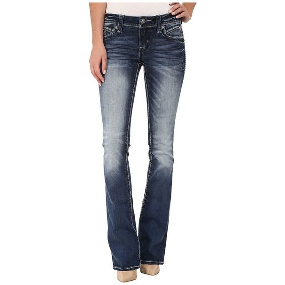 Rock Revival Semak B4 Bootcut in Dark Indigo Women's Clothing ($169) ❤ liked on Polyvore featuring jeans, boot cut jeans, mid-rise jeans, indigo blue jeans, slim fit bootcut jeans and boot-cut jeans