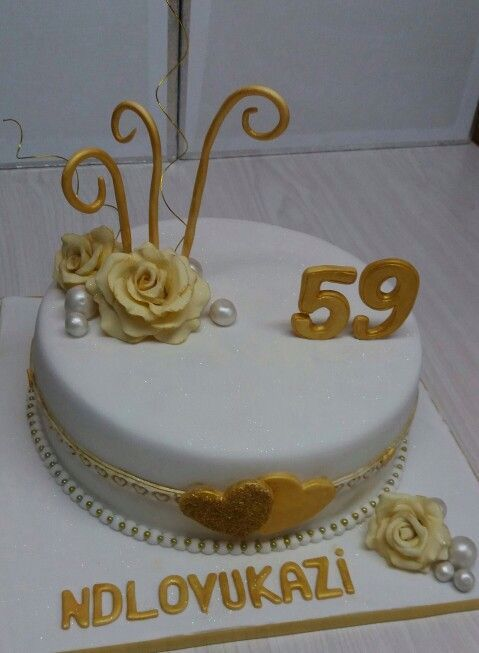 59th Birthday Cake White And Gold Made By Colleen De Wet In 2020
