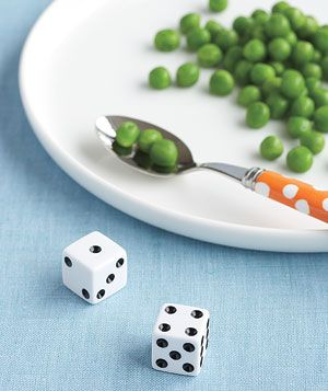 Dice as Vegetable Counter  Decide how many more bites of dinner your child has to eat before being excused. Let your child roll so he's the one controlling his fate. You'll end up with a more peas-ful family meal.