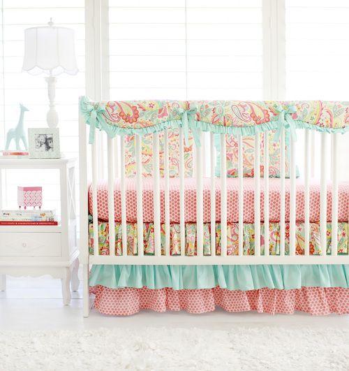Sweet Pink Amp Aqua Paisley Baby Girl Bedding The Adorable
