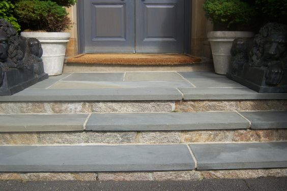 Steps with reclaimed stone veneer and pennsylvania for Bluestone porch