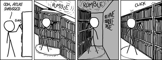 XKCD. I wish bookstores actually had features like this. Anything by L. Ron Hubbard would get the same treatment.