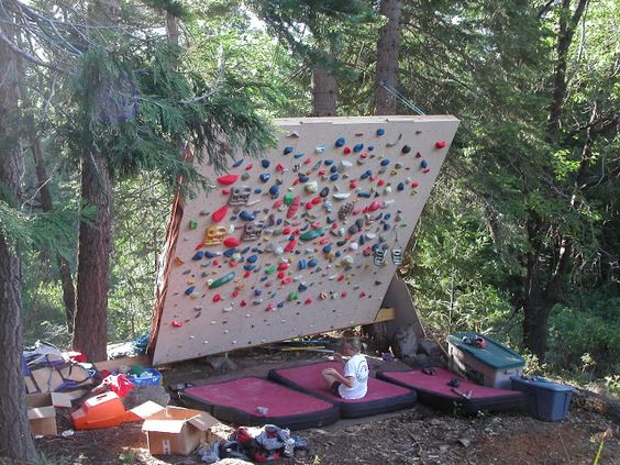beth roddens climbing wall notice how its anchored to the trees with pulleys to make the angle adjustable