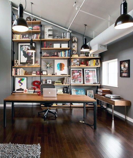 75 Small Home Office Ideas For Men Masculine Interior Designs In 2020 Home Office Setup Home Office Design Small Home Office