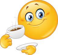 emoticon drinking coffee sticker