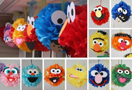 Sesame Street Pom Poms - This site has the face templates too!