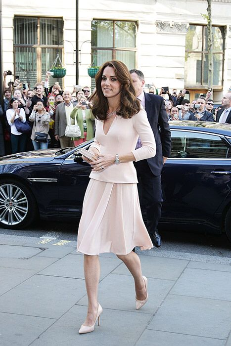 Pretty in Pink Princess Kate... in a pale pink Alexander McQueen.