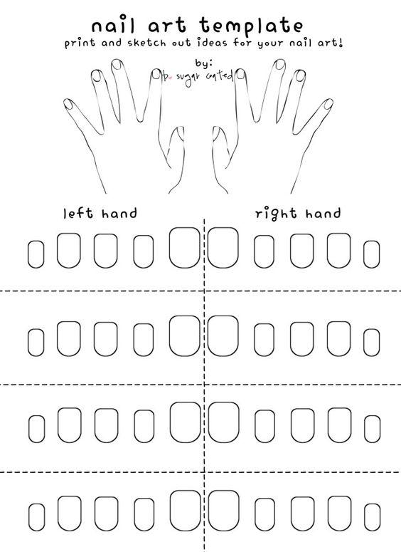 Free Printable Nail Art Template | Free printable, Decals and Nail art