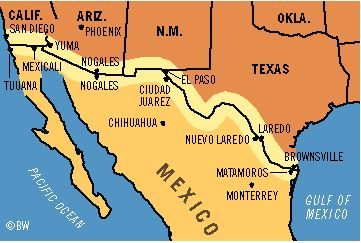 In My Book Crossing The Wire The Main Character Travels To Many - Mexico and us border map