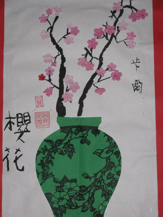 "3rd grade Chinese cherry blossom and vase collage paintings;  12"" X 18""  Art teacher: Susan Joe:"