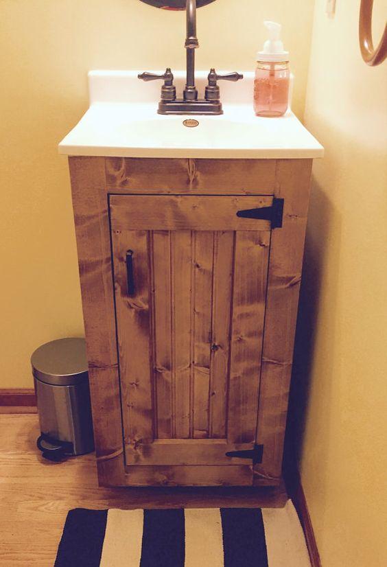 Bathroom Vanity Rustic Wood Cabinet With New England