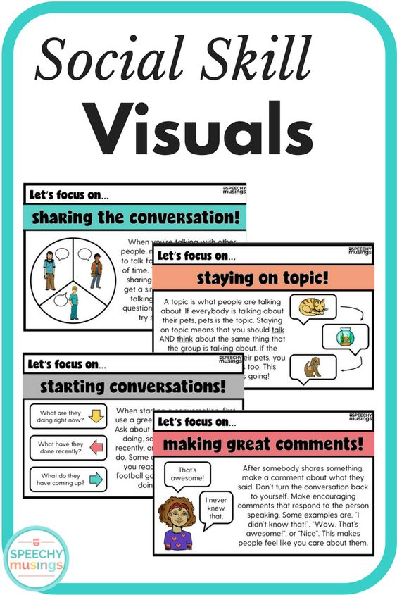 Half sheet social skills visuals - perfect for social groups or mixed groups. A must have speech therapy printable that you can use with ANY activity! Includes reflection questions. From Speechy Musings.