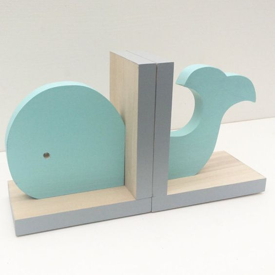 Aqua Whale Bookends, Nautical Room Decor, Nautical Nursery Decor