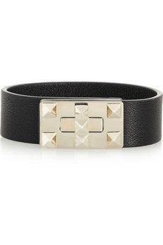 Valentino Rockstud leather bracelet   NET-A-PORTER