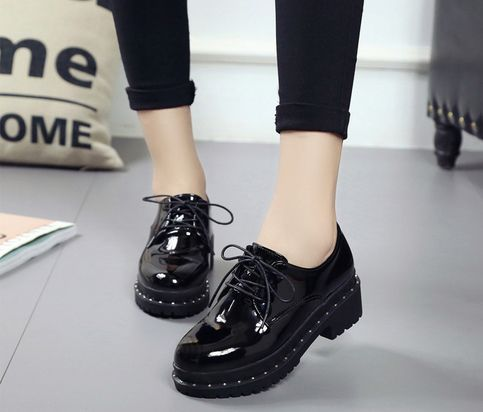 Shiny Small Platform Shoes | Korean shoes, Women oxford