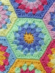 Rainy Day Hexagon Throw free crochet tutorial ✿Teresa Restegui http://www.pinterest.com/teretegui/✿