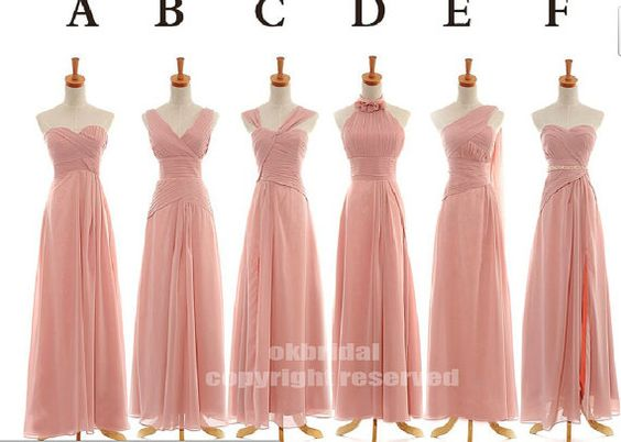 long bridesmaids dresses in same color but different styles