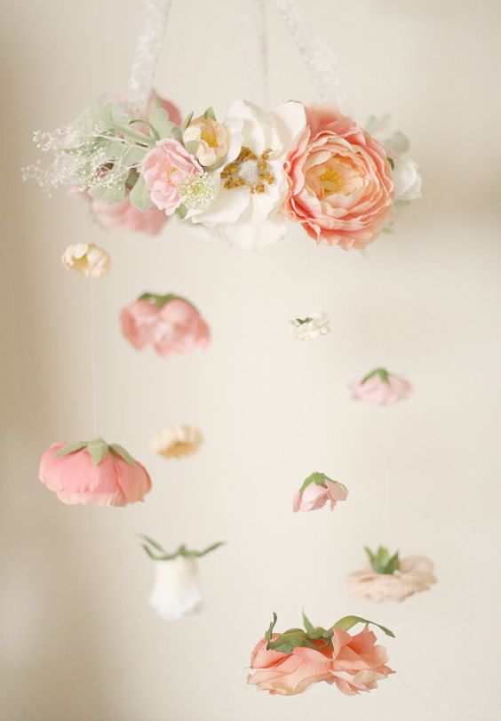 Flower mobile for baby nursery or flower chandelier for event. So pretty! Love the dangling blossoms. From Love Sparkle Pretty https://www.etsy.com/listing/245368116/ethereal-flower-chandelier-floral-mobile Liapela.com