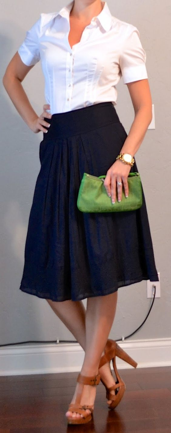 Outfit Posts: outfit posts: navy midi skirt, white button down blouse, green clutch