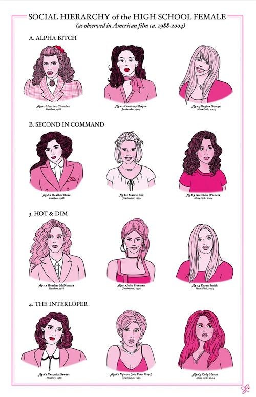 Social Hierarchy of the High School Female Clique (as observed in American film ca. 1988-2004)