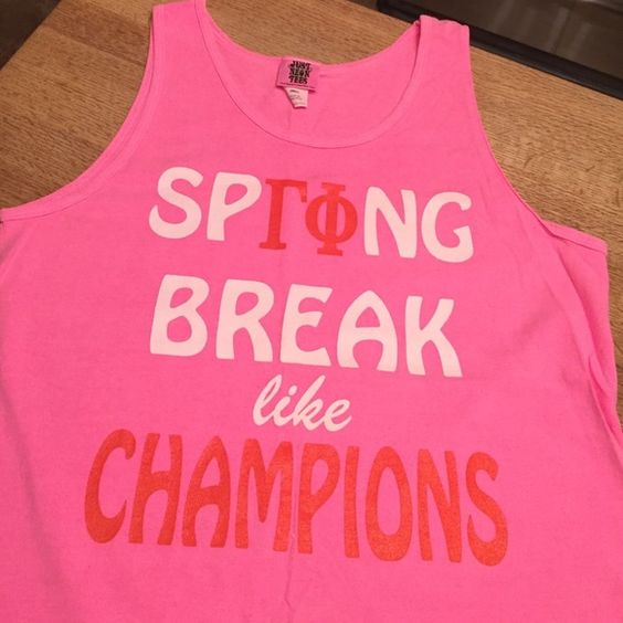 "Gamma Phi Beta Spring Break Hot Pink Tank!! Gamma Phi Beta ""Spring Break like Champions"" Hot Pink Tank Top!! Size: Small!! Color: HoT PiNK!! Worn several times but still in great condition!!! Just Neon Tees Tops Tank Tops"