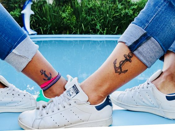 Tattoo, ancre, tatouage, cheville, couple